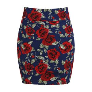 Floral Print Skirt, Mid Waist Skirt, High Skirt Bodycon, Office Skirts, Fitting Skirt, Pencil Skirt, Package Hip Skirt, Retro Skirt #N17698