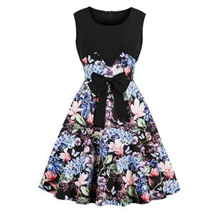 Retro Black Floral Print Scoop Neck Sleeveless High Waist Cocktail Swing Dress N18649