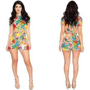 Retro Short Sleeve Jumpsuit, Around Neck Floral Print  Short Playsuit, High Waist Floral Print Short Overalls, #N8935