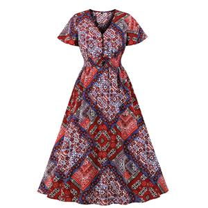 Sexy A-line Swing Dress, Fashion Dresses for Women, Cocktail Party Dress, Fashion Short Sleeve Swing Dresses, A-line Casul Dresses, V Neck High Waist Dress, Printed A-Line Dress, #N20952