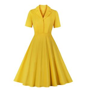 Retro Hepburn Solid Color Lapel Short Sleeve High Waist Midi Swing Dress N20966