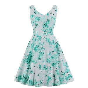 Vintage Contrast Color Dress, Fashion High Waist A-line Swing Dress, Retro Dresses for Women 1960,Sleeveless Summer Dress, Vintage High Waist Dress for Women, V Neck Sleeveless Dresses for Women, Vintage Summer Dresses for Women, #N20561