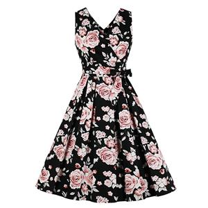 Vintage Floral Print Dress, Fashion High Waist A-line Swing Dress, Retro Dresses for Women 1960,Sleeveless Summer Dress, Vintage High Waist Dress for Women, V Neck Sleeveless Dresses for Women, Vintage Summer Dresses for Women, #N20777