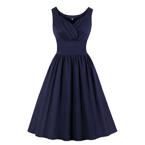 Vintage Solid Color Dress, Fashion High Waist A-line Swing Dress, Retro Dresses for Women 1960,Sleeveless Summer Dress, Vintage High Waist Dress for Women, V Neck Sleeveless Dresses for Women, Vintage Summer Dresses for Women, #N20524