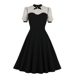 Retro Sheer Mesh Dress, Fashion A-line Swing Dress, Retro Dresses for Women 1960, Vintage Dresses 1950