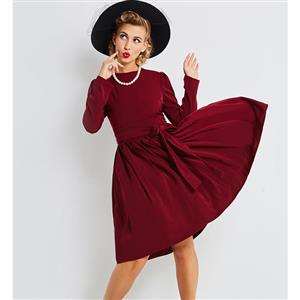 Retro Long Sleeve Midi Dress for Women, Long Sleeve Round Neck Dress, Lace-up Solid Color Midi Dress, Women