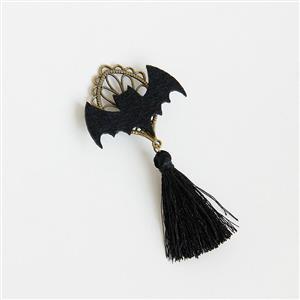 Retro Bat Alloy Metal Brooch, Lovely Bat Tassel Brooch, Fashion Bat Brooch for Women, Vintage Alloy Metal Brooch, Casual Black Tassel Brooch, #J17267
