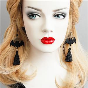 Retro Bat Alloy Metal Earrings, Lovely Bat Tassel Earrings, Fashion Bat Earrings for Women, Vintage Bead Alloy Metal Earrings, Casual Black Tassel Earrings, #J17268