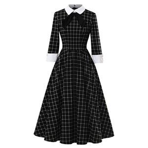 Sexy A-line Swing Dress, Retro Plaid Print Dresses for Women, Vintage Dresses 1950
