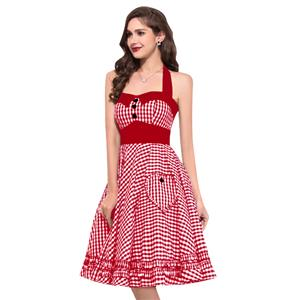 Vintage Plaid Halterneck Ruffled High Waist Midi Flare Dress N18690