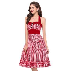 Cute Halter Neck Swing Dress, Retro Dresses for Women 1960, Vintage Dresses 1950
