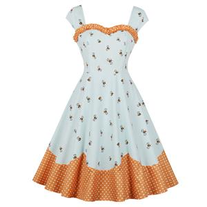 Vintage White Bees Print Wide Straps Heart Bust Line Sleeveless High Waist Swing Dress N18648
