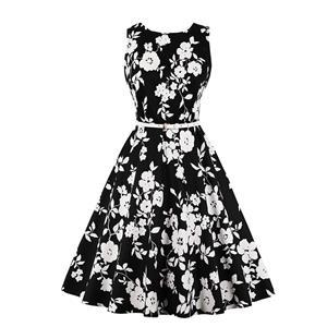 Vintage Dresses for Women, Cocktail Party Dress, Vintage Sleeveless Tank Dresses, A-line Cocktail Party Swing Dresses, Floral Print Vintage Dress, Round Neck Vintage Day Dress, #N20286