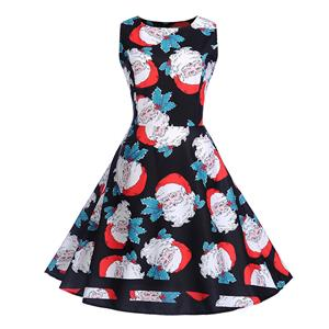 Vintage Dress for Women Black, Christmas Dresses for Women Cocktail Party, Casual Swing Dress, Sleeveless Swing Dress, Christmas Reindeer Print Dress, Christmas Party Dress, #N18284