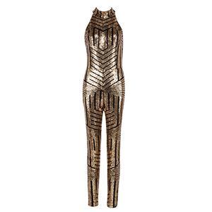 Sequins Jumpsuit for Women, Stripe Jumpsuit, Sleeveless Jumpsuit, Halter Jumpsuit, Backless Jumpsuit, Bodycon Jumpsuit for Women, #N15263