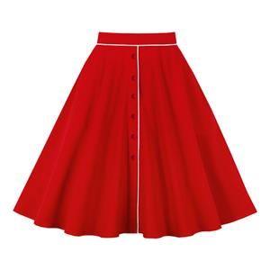 Daily Casual Mini Skirt, OL Midi Skirt, Cute Swing Skirt, Fashion Flared Skirt, Vintage Swing Skirt, High Quality Cotton Skirt, Girl