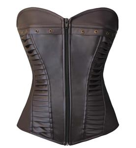 Retro Steampunk Brown Faux Leather Zipper Corset N10888