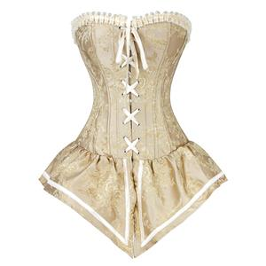 Retro Royal Yellow Jacquard Brocade Lace-up Overbust Corset with Skirt N18260