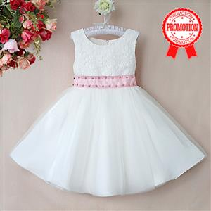 Rhinestone Pink Belt Pure Dress, Sleeveless Flower Lace Princess Dress, Tulle and Lace Party Dress, #N9114