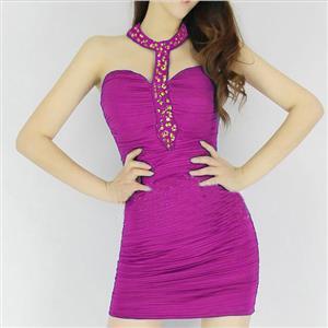 Sexy Rhinestone Collar Dress, High collar CLubwear, Rhinestone Collar Mini Dress, Sexy Clubwear, Ruffled Mini Dress, Wrap Dress, #N5711