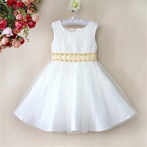 Rhinestone Yellow Belt Pure Dress, Sleeveless Flower Lace Princess Dress, Tulle and Lace Party Dress, #N9116