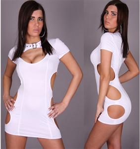 Keyhole Clubwear Style, Robe Revealing Keyhole Clubwear, white Clubwear, #N4492
