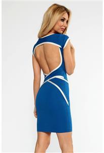 Sexy Bodycon Dress, Sexy Backless Mini Dress, Robe noire bandes flashy, Blue Backless Wrap Strap Dress, Blue Wrap Strap Dress, #N8604