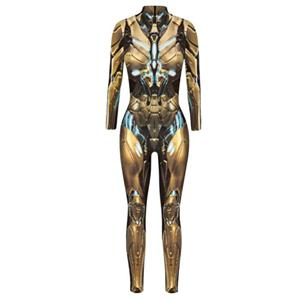 Futuristic Iron Robot Printed Jumpsuit, Halloween Iron Robot High Neck Slim Fit Bodysuit, ET Alien Halloween Bodycon Jumpsuit, Long Sleeve High Neck Jumpsuit, Halloween Robot Jumpsuit for Women, #N21404