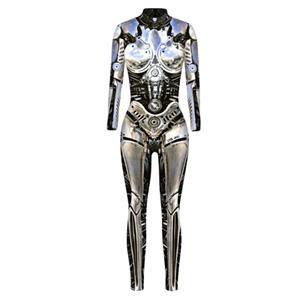 Futuristic Iron Robot Printed Jumpsuit, Halloween Iron Robot High Neck Slim Fit Bodysuit, ET Alien Halloween Bodycon Jumpsuit, Long Sleeve High Neck Jumpsuit, Halloween Robot Jumpsuit for Women, #N21405