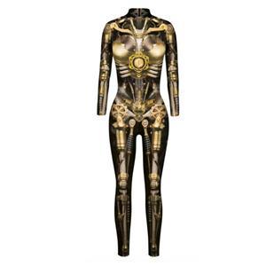 Futuristic Iron Robot Printed Jumpsuit, Halloween Iron Robot High Neck Slim Fit Bodysuit, ET Alien Halloween Bodycon Jumpsuit, Long Sleeve High Neck Jumpsuit, Halloween Robot Jumpsuit for Women, #N21406