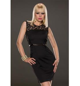 Black Sleeveless Lace Round Neck Dress, Black Belts with Zipper Split Joint Lace Dress, Lady Sexy Slim Package Hip Dress, Night Club Party Dress, #N9314