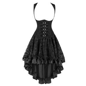 2Pcs Romantic Gothic Underbust Corset With Lace Dancing Skirt Set N12127