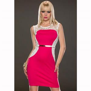 Hot Pink Sleeveless Lace Round Neck Dress, Black Belts with Zipper Split Joint Lace Dress, Lady Sexy Slim Package Hip Dress, Night Club Party Dress, #N9316
