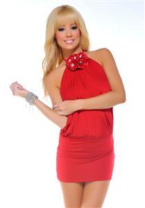 Sexy Halter Dresses, Rose Mini Dress, sexy Dresses, #N3271