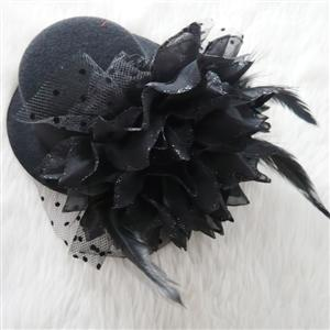 Rose Mini Top Hat, Feather Mini Top Hat, Hair Clip Mini Top Hat, #J7080
