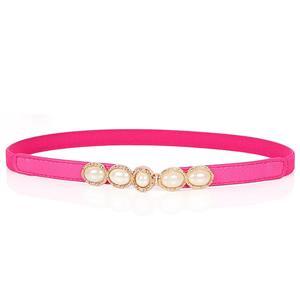 Luxury Pearl Waist Belt, Pearl Rose-Red Waist Belt, Luxury Leather Waist Belt Silver, Waist Belt for Women, Fashion Dress Waist Belt, Pearl Girdle for Women, #N16937