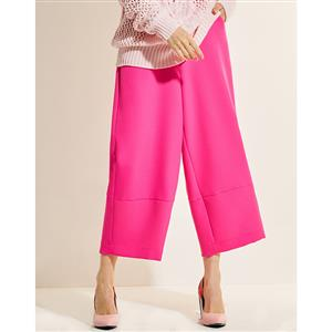 Mid Waist Pants, Womens Rose-Red Pants, Rose-Red Casual Pants for Women, Ninth Women Pants, Pocket Pants for Women, Plain Pants for Women, #N15776