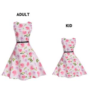 Vintage Dresses for Mother and Daughter, Floral Print Family Matching Dress, Sleeveless Round Collar Printed Dress, Back Zipper Family Matching Dress, Retro Dresses for Mother and Daughter, A-Line Mother and Daughter Family Matching Dress, #N15474