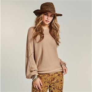 Batwing Sleeve Pullover Sweate, Round Neck Apricot Sweater, Loose Pullover Sweater, Women