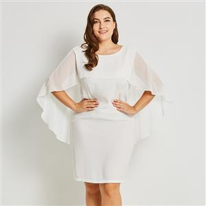 Batwing Sleeve Bodycon Dress, Round Neck Bodycon Dress, White Plus Size Dress, Bodycon Dress for Women, White Chiffon Bodycon Dress, Plus Size Dresses for Women, #N15801