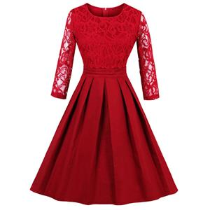 Evening Party Red Dress, Cocktail Party Dress for Women, Semi Formal Dress for juniors, Red Lace Dress for Women, Casual Red Dress for Women Party, Red Floral Lace Dress, #N14434