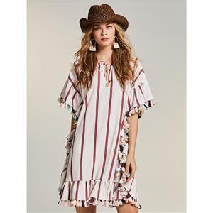 Sexy Round Neck Mini Dress, Sexy Mini Dress, Mini Dress for Women, Loose Mini Dress, Half Sleeve Sexy Dress, #N14527