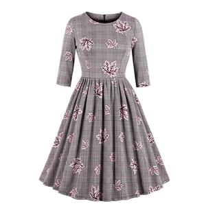 Vintage Round Neck Half Sleeves Maple Leaves Printed A-Line Dress N18034