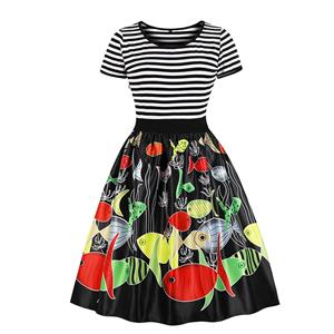 Fashion Round Neck Short Sleeves Colorful Fishes Printed High Waist Dress N18039