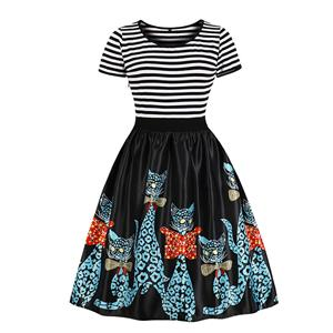 Vintage Round Neck Short Sleeves Cool Cats Printed High Waist Dress N18038