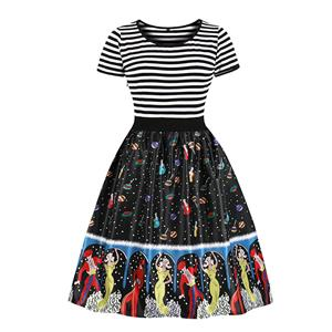 Fashion Round Neck Short Sleeves Dancing Figures Printed High Waist Dress N18037