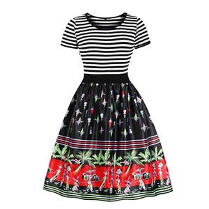 Fashion Round Neck Short Sleeves Exotic Printed A-Line Dress N18035