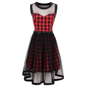 Sleeveless Plaid Dress, High Waist Plaid Mini Dress, Vintage Dress for Women, Sexy Dresses for Women Cocktail Party, Mesh Patchwork Dress, #N14376