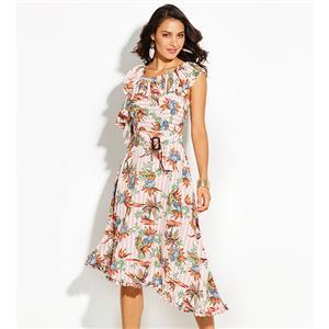 Cap Sleeve Midi Dress, Round Neck Midi Dress, Pink Stripe Midi Dress, Floral Print Midi Dress, Fashion Midi Dress for Women, Pink Floral Print Midi Dress, #N15697