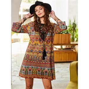Sexy Round Neck Mini Dress, Sexy Mini Dress, Mini Dress for Women, African Print Day Dress, 3/4 Sleeve Sexy Vintage Dress, #N15728